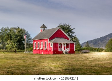 Red church with flag