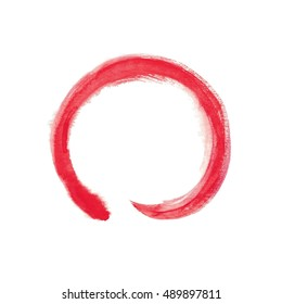 The red circle drawn by a brush