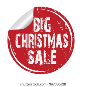"red circle grunge sticker ""big christmas sale"", bitmap"