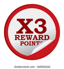 Red Circle X3 Reward Points, Campaign, Promotion , Product Label, Infographics Flat Icon, Peeling Sticker, Sign Isolated on White Background