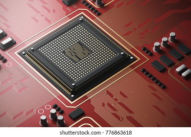Red circuit board with a processor on it. Concept of modern technologies and information. 3d rendering mock up
