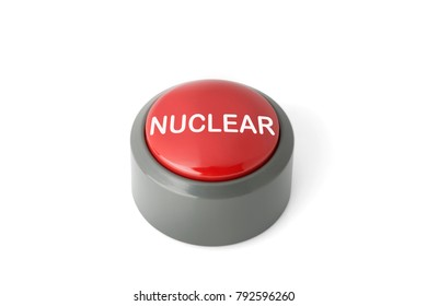 Red circular push button labeled 'Nuclear' isolated on white background