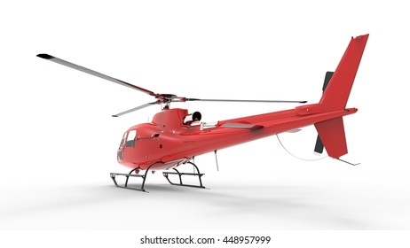 Red civilian helicopter on a white uniform background.