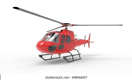 Red civilian helicopter on a white uniform background. 3d illustration.