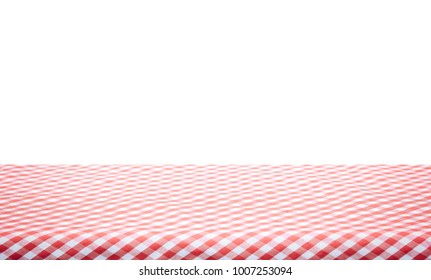 Red classic checkered tablecloth on white background with copy space