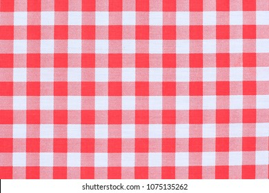 Beau Red Classic Checkered Tablecloth Texture, Background With Copy Space