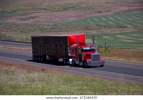 Red Classic Semitruck Pulls Black Red Stock Photo (Edit Now
