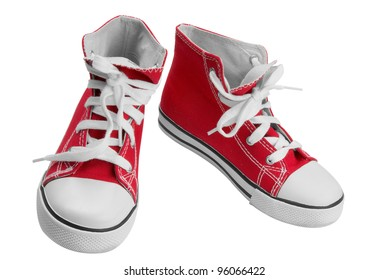 Red classic sneakers isolated over white with clipping path