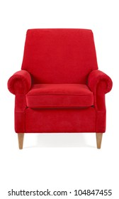 red classical armchair isolated on white