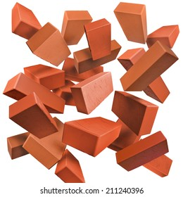 Red clay bricks flying, falling, scattered