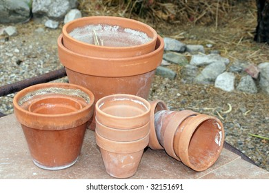 Red clay gardening pots.
