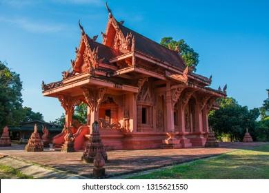 Red clay Temple - Wat Sila Ngu on Koh Samui island, Thailand under blue sky