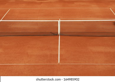 red clay's tennis court with net