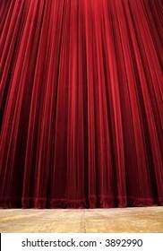 red clean closed velvet curtain, wooden floor, simple scene