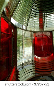 Red & Clear Lighthouse Fresnel From the Inside