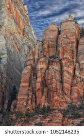 Red cliffs in Zions National Park Utah.