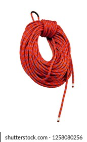 Red climbing rope on the white background