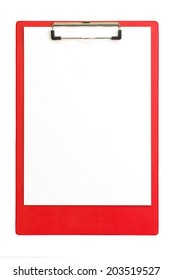 Red clipboard with paper sheets - isolated