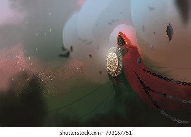 a red cloack sorcerer casted spell in the dark world and chains, digital art illustration painting.