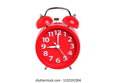 Red clock isolated on white background with clipping path.