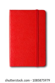 Red closed notebook mockup isolated on white