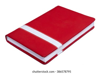 Red closed paper notepad. Isolated on white background with copy space