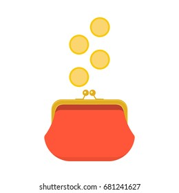 Red closed purse infographics concept. Gold coins raining to open wallet. Golden coins money dropping or falling in purse. Raster illustration