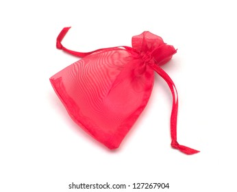 red cloth bag on white background