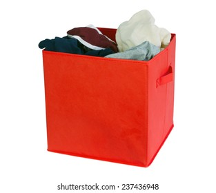 Red clothing box isolated on white
