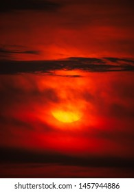 The Red Cloud Obscure The Yellow Sun Shining in The Red Sky
