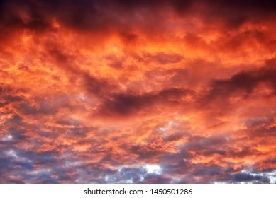 Red clouds at sunset, fire on black background