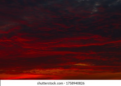 Red clouds in the sunset sky