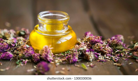 Red clover oil, herbal alternative medicinal plant, dried red clover plants and oil