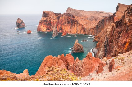 Red coastal rocks and islets of Ponta de Sao Lourenco, landscape of Madeira island, Portugal