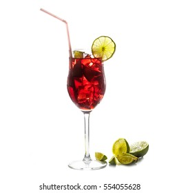 Red cocktail, fresh transparent mixed drink from cherries, berries, ice and lime, with or without alcohol, isolated on a white background