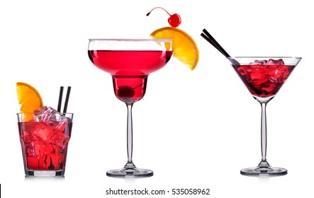Red cocktail in glass isolated on white background.