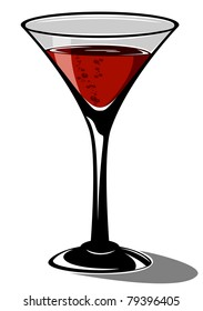 Red cocktail in a glass for martini on white background, illustration
