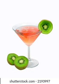 red cocktail with kiwi isolated on white background