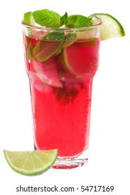 Red cocktail with lime and mint on white background