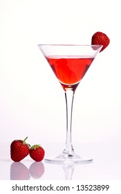 Red cocktail with strawberries on white background