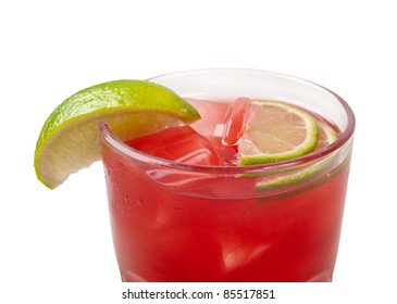 red coctail drink with ice cubs closeup isolated on white background.