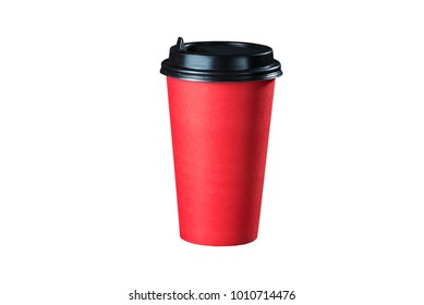 Red coffee cup with cappuccino on a white background coffee to go. Isolate