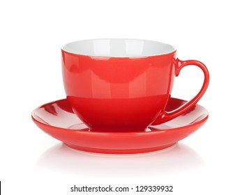 Red coffee cup. Isolated on white background