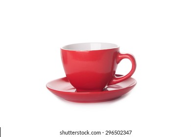red coffee cup isolated on white