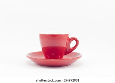 Red coffee cup isolated on white background, stock photo