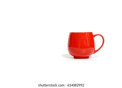 Red coffee cup on white background