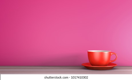 Red coffee cup on wood over pink background, concept