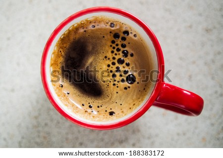 red coffee cup. top view