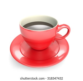 red coffee cup with white background
