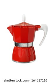 Red coffee maker isolated on white background